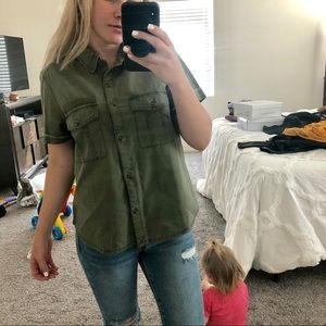 Nordstrom army green button up